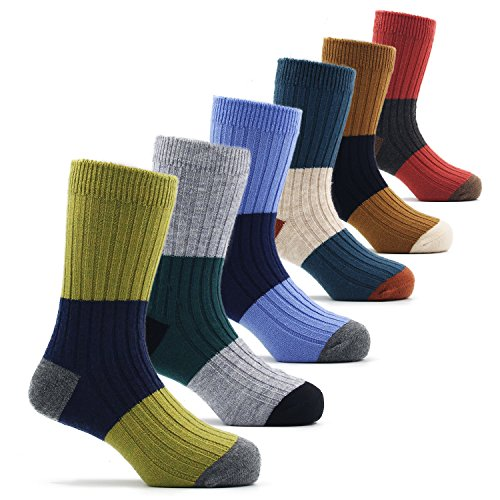 Boys Wool Socks Kids Crew Seamless Winter Warm Socks 6 Pack 6/7/8T