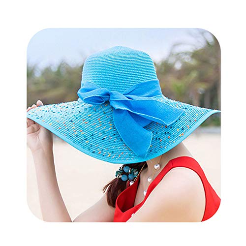 Hat Lady Summer Wide Along Bow Visor Sun Beach Straw Hat Mujer Cap Candy Colored Sun Hats,Sky Blue]()
