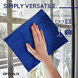 Eyeglass Cleaner Microfiber Cloth - Glasses Cleaner For All Gentle Surfaces, Touchscreens, Smartphones, Camera Lenses, LCD & HD Screens -Light Blue, 12 Pack- By OptiPlix