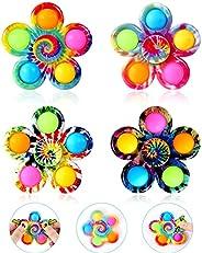 GOHEYI Pop Fidget Spinner Toys 4 Pack, Simple Popping Fidget Toy, Pop Fidget Pack, Pop Bubble Sensory Toys Set