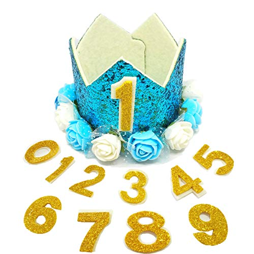 - PET SHOW Crown Dog Birthday Hat for Pets Birthday Party Cat Headband Hats with Figures 0-9 Charms with Glue Dots Party Accessories Pack of 1(Blue)