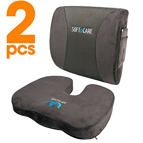 SOFTaCARE Seat Cushion Coccyx Orthopedic Memory Foam and Lumbar Support Pillow, Set of 2, Dark Gray (Cushion Sets)