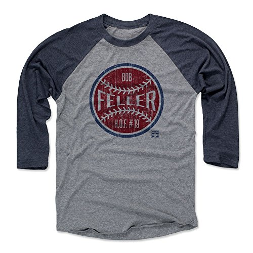 500 LEVEL Bob Feller Baseball Tee Shirt (Medium, Navy/Heather Gray) - Cleveland Indians Raglan Tee - Bob Feller Ball R