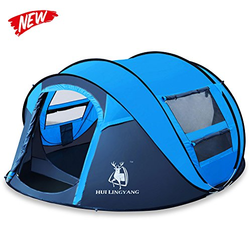 HUI LINGYANG Outdoor Four Person Pop Up Camping Tent – Easy, Automatic Setup -Ideal Shelter for Casual Family Camping Hiking