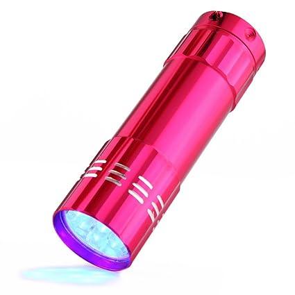 ulanda Mini 9 LED UV linterna LED linterna de mano negro luz de aleación de aluminio