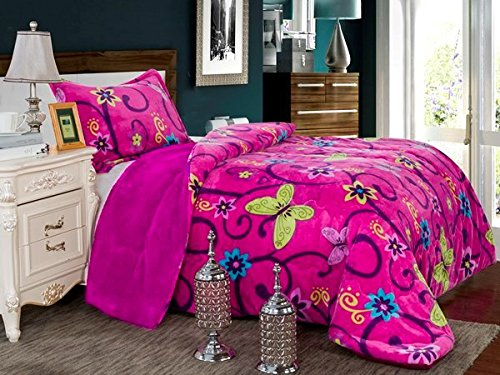 Fancy Collection 2pc Twin Size Blanket Sumptuously Soft Plush with Sherpa Winter Blankets Bedspread Super Sof (Pink Butterfly) (Bed Sofs)