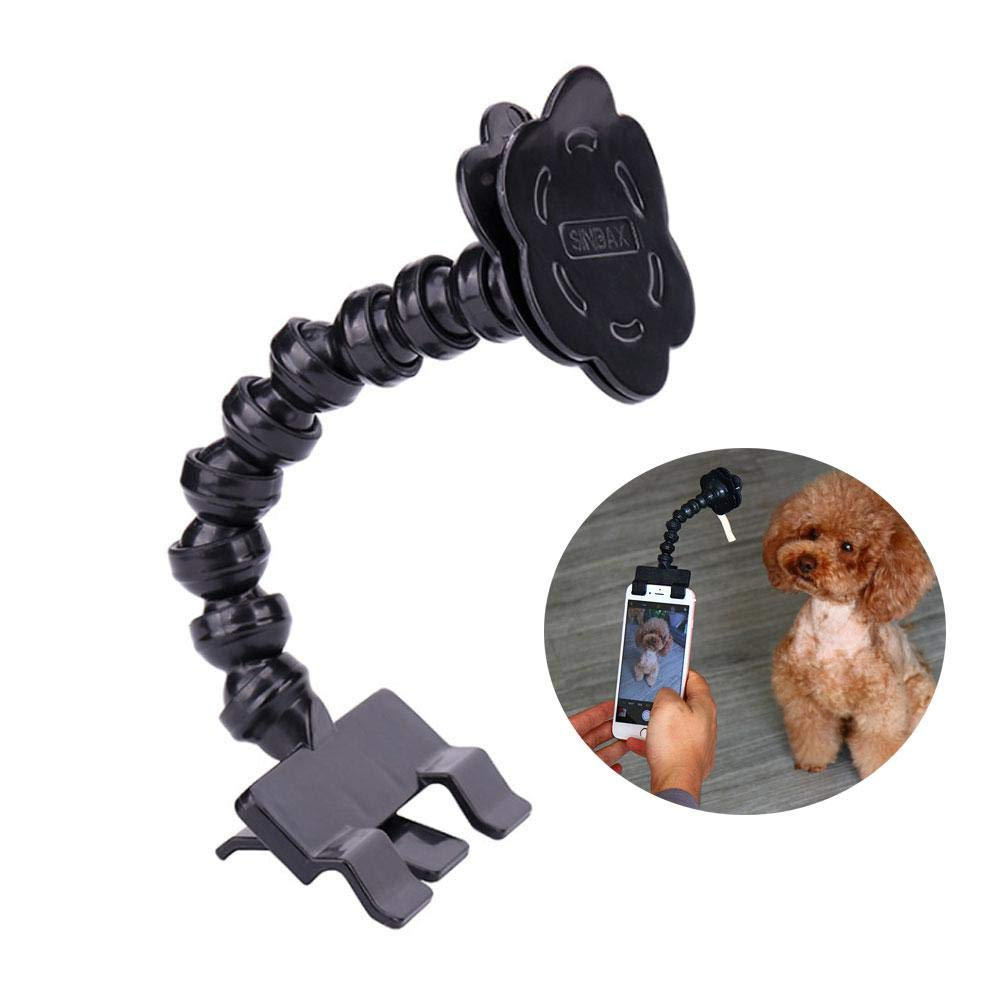 Pet Selfie Phone Clip Portable Pet Selfie Stick Smartphone Attachment Selfie Stick Pets Dog Cat Take Photos Training Toy, Shoot The Funny Photo Pet at Anytime (Black, White) Foonee