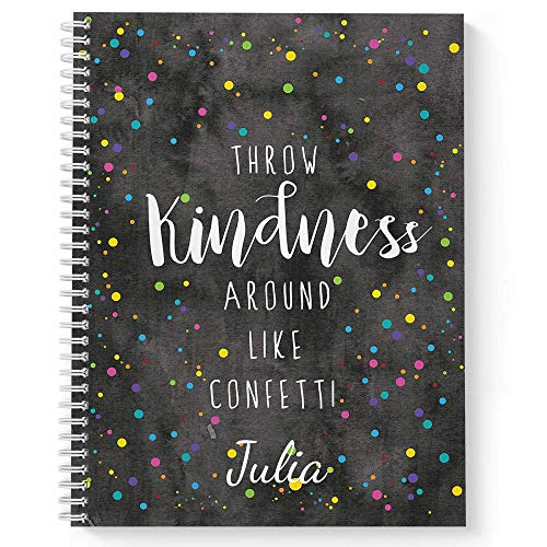 Confetti Personalized Motivational Notebook/Journal, Laminated Soft Cover, 120 College Ruled pages, lay flat wire-o spiral. Size: 8.5