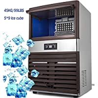 VEVOR Commercial Ice Maker 99lb/24h Stainless Steel Portable Ice Cube Maker Machine 110V Ice Making Machine for Home Supermarkets Cafes Bakeries Bars Restaurants Snack Bars(Production 99lbs/24h)