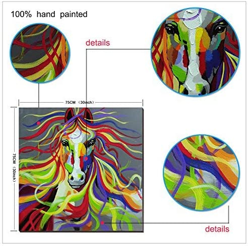 3Hdeko-Horse Oil Painting on Canvas 30x30inch Colorful Wild Animal Modern Wall Art Home Decoration for Bed Room,Stretched- Ready to hang