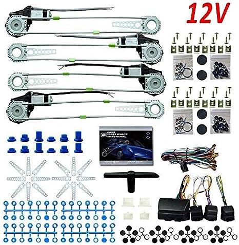 TYZXR Elevalunas eléctrico Universal para reequipamiento de 4 Puertas con Kit de Accesorios 12V