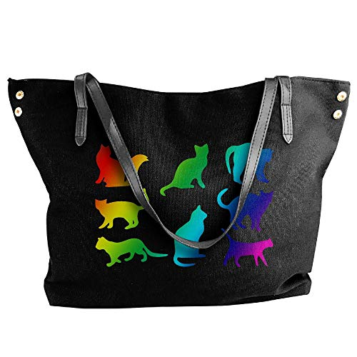 Cat Black Tote Large Rainbow Messenger Shoulder Bags Women's Handbag Canvas ZRpqx6w