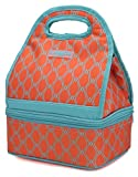MIER Dual Compartment Insulated Lunch Box Bag Reusable Cooler Bag for Women, Girls(Orange)