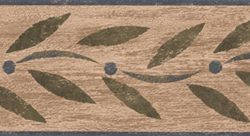 Abstract Green Leaves on Blue Vine Modern Wallpaper Border Retro Design, Roll 15' x 4.5''