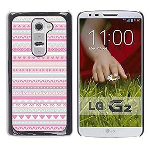YOYOYO Smartphone Protección Defender Duro Negro Funda Imagen Diseño Carcasa Tapa Case Skin Cover Para LG G2 D800 D802 D802TA D803 VS980 LS980 - patrón nativo rosa folk americano