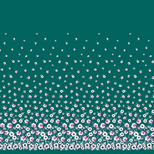 (Soimoi Green Satin Silk Fabric Leaves & Anemone Flower Panel Print Fabric by The Yard 42 Inch Wide )