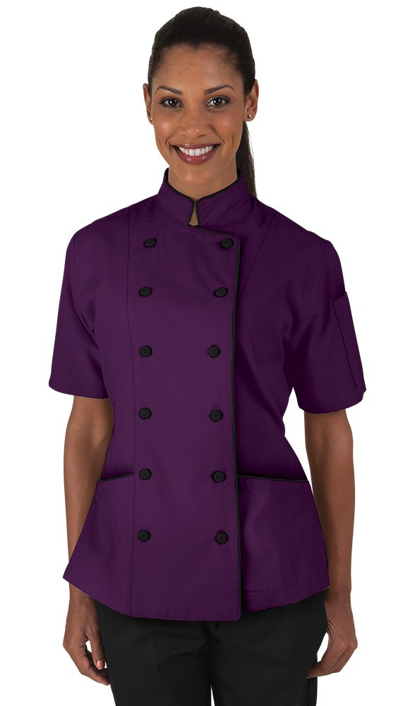 Women's Eggplant Chef Coat with Piping (XS-3X) (X-Large)