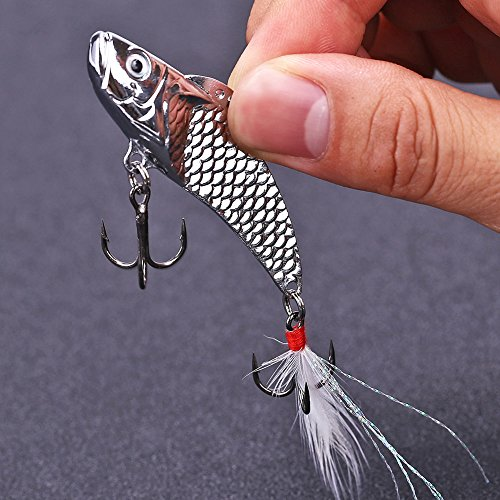Sougayilang Long Casting Metal Fish Spinner Baits Bleeding Shad Nice Action Hard Sequin Fishing Lures with Feather Two Treble Hooks for Saltwater Freshwater Fishing (Pack Of 3) (Saltwater Fishing Spoons compare prices)