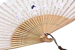 Amajiji Chinese Japanese Folding Hand Fan for women,Vintage Retro Style 8.27\
