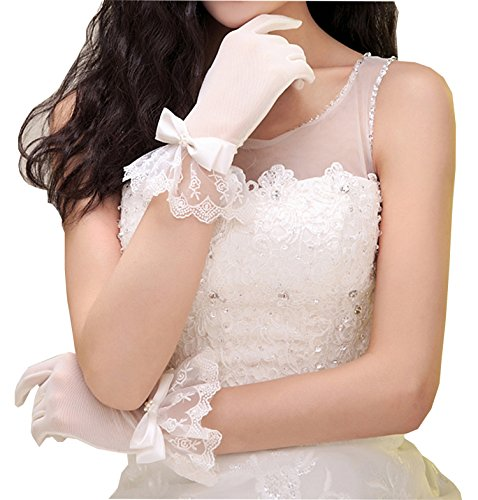 (Gauss Kevin Lace Gloves UV Protection Wrist Length Prom Party Driving Wedding Gloves ShaH)