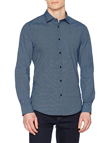 Guess Valley Casual Camicia Ls Uomo Azzurro TY6T8n