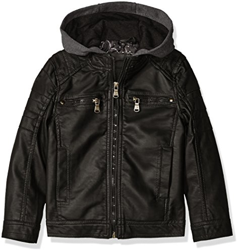 Urban Republic Boys' Faux Leather Jacket with Fleece Hood and Perforated Shoulders