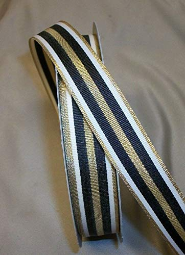 "Ribbon Art Craft Decoration 5 Yds. White, Black & Metallic Gold Stripe Grosgrain 7/8"" Wide"