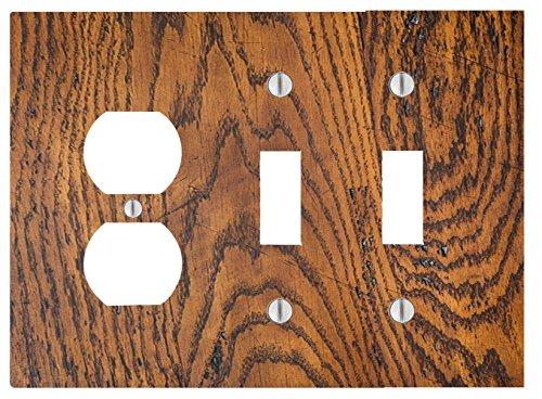 Dark Oak Wood-grain Design 3 Gang, 2 Toggle, 1 Outlet Wall Plate (6.56 x - Outlets Oaks