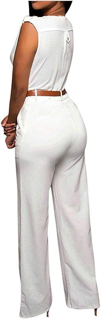 YaYu Womens Button Wide Leg Pants Solid Color Sleeveless High Waist Long Pants Jumpsuits