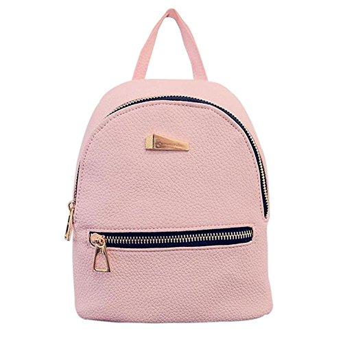 Lady Mini Backpack Fashion Casual Pu Leather Travel Handbag Rucksack Daypack School Shoulder Bag Black Pink