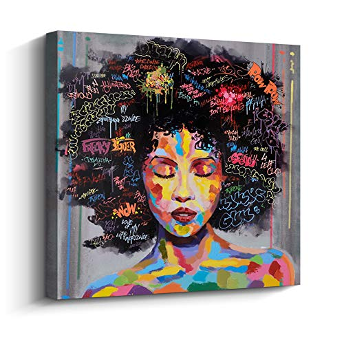 Pinetree Art African American Black Art Canvas Wall Art, Original Designed Pop Graffiti Style Canvas Painting on Print (20 x 20 inch, B Framed)
