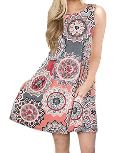 Coolred Women Neck O Mid Sleeveless Pockets Floral Dress Spring Pattern2 Flared SPxrZSa