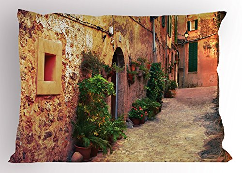 Ambesonne Wanderlust Pillow Sham, Ancient Street in Valldemossa Village Mallorca Spain Vintage Door Road, Decorative Standard Size Printed Pillowcase, 26 X 20 Inches, Amber Orange Green by Ambesonne