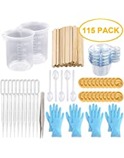 Mixing Cups Epoxy Resin Cups with Sticks Kit-2pcs 100ml Measuring Cups,70pcs Disposable Cups and Mixing Sticks,Dropping Pipette, Tweezers & Gloves for Epoxy