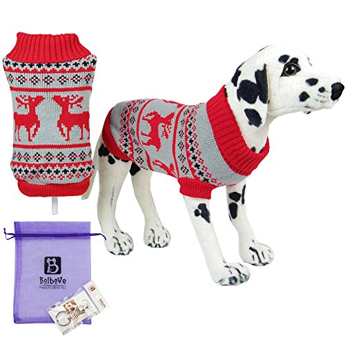 [Bolbove Pet Christmas Themed Reindeer Turtleneck Sweater for Small Dogs & Cats Holiday Knitwear Cold Weather Outfit (Small, Red)] (Elf Dog Outfit)