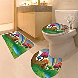 3 Piece Anti-slip mat set Countryside Sunny Playfu Environment Foliage bo Vibrant Colors Spring Scene Kids Ext Non Slip Bathroom Rugs