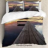 AngelSept 3 Piece (1 Quilt Cover 2 Pillow Shams) View of Sunset Over an Old Oak Deck Pier and Calm Water of The Lake Horizon Serenity,Queen Size,for Bedroom,Guest Room,Multi
