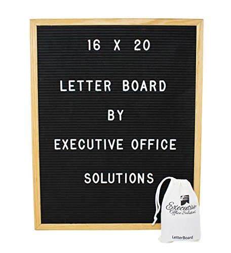 16x20 Changeable Letter Board - Black with Solid Oak Frame, Wall Mount, Canvas Bag, and 290 Characters - by Executive Office Solutions - Vertical Executive Case