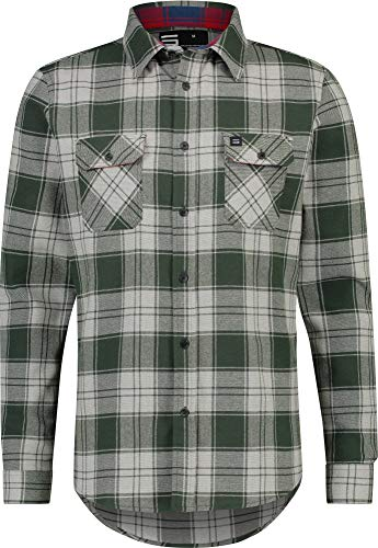Flannel Shirt for Men - Dry Fit Long Sleeve Button Down - Moisture Wicking and Stretch Fabric Plaid Shirts Olive ()