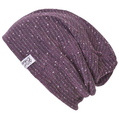 Purple Reversible Knit Beanie - Casualbox Charm Mens Mesh Layer Reversible Light Slouch Beanie Hat Japanese Fashion Purple
