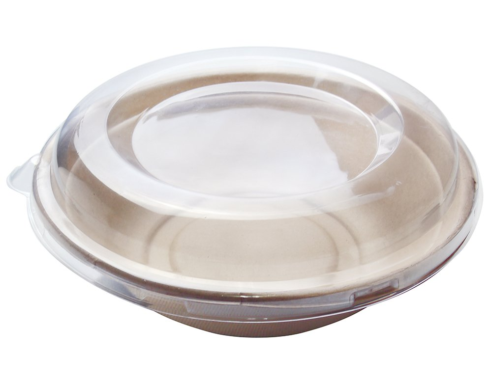 [500 SETS] 32 oz Round Disposable Bowls with Lids- Natural Sugarcane Bagasse Bamboo Fibers Sturdy Compostable Eco Friendly Environmental Paper Plastic Bowl Alternative 100% by-product Tree Free by Harvest Pack (Image #2)