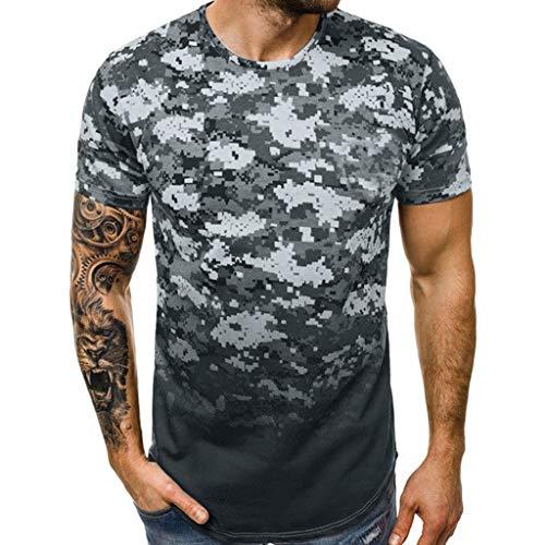 - refulgence Casual Slim Fit Sport Shirt for Mens Summer Short Sleeve Placket Plain Henley Tops(Gray,XXXL)