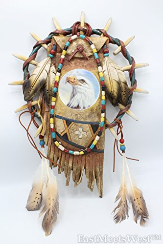 Eagle Gemstone - Southwestern Native American Eagle in Wolf Teeth Cycle with Feathers Gemstone Hanging Wall Plague Rustic Hand Painted Decoration