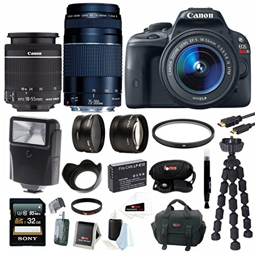 Canon EOS Rebel SL1 Digital SLR with 18-55mm IS STM Lens + 75-300mm f/4.0-5.6 EF III Lens + 2.2x Pro Telephoto Lens + 0.43x Wide Angle Lens + Slave Flash + 32GB SDHC Deluxe Accessory Bundle