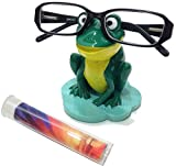 Green & Yellow Frog Novelty Gift Eyeglass Holder Stand & Lens Cleaning Cloth