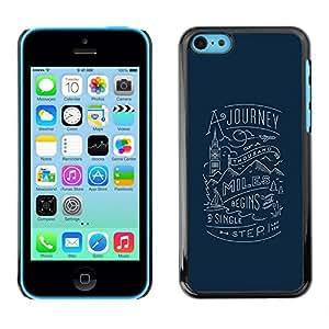 Caucho caso de Shell duro de la cubierta de accesorios de protección BY RAYDREAMMM - Apple iPhone 5C - Blue Travel Inspiring