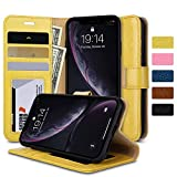 labato iPhone XR Wallet Case, Genuine Leather Magnetic Closure Flip Case Cover with Credit Card Holder for Women and Girl Support Wireless Charging Shockproof Protective Case for Apple iPhone XR 6.1'