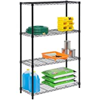 Honey Can Do 4-Tier 54 in. H x 36 in. W x 14 in. D Steel Shelving Unit (Black)