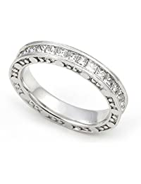 18k White Gold Channel Set Diamond Eternity Wedding Band Ring G H VS 1 3 5 Ct