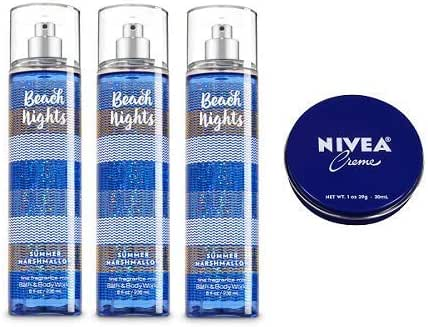 Bath and Body Works 3 Pack Beach Nights-Summer Marshmallow Fine Fragrance Mist 8 Oz. + Travel Size Creme 1 Oz.